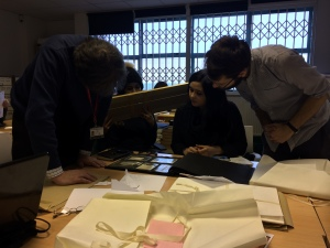 A picture of the team browsing through archive